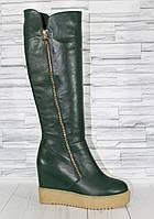 Зеленые высоки сапоги на таркетке. Натуральная кожа 1479