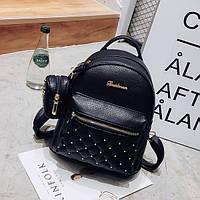 Рюкзак городской женский черный с кошельком