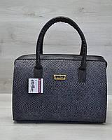 Женская сумка-саквояж WL 31111 серая змея с черными ручками