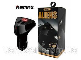 Автомобильное зарядное устройство 2USB (3.4А)Remax (Aliens RCC-208) с индикатором черный