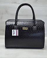 Женская сумка-саквояж WL 31110 черная кобра