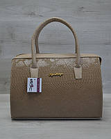 Женская сумка-саквояж WL 31106 кофейная рептилия с кофейными ручками
