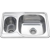 Мойка кухонная Platinum 7050 декор 0,8 мм глубина 18 см