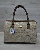 Женская сумка-саквояж WL 31101 кофейный крокодил с кофейными ручками
