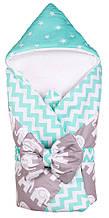 Конверт-одеяло Babyroom бирюзовый-графит (слоники)