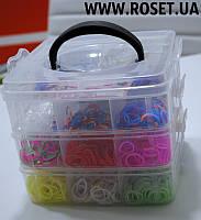 Набор разноцветный резинок Loom Bands для плетения разнообразных украшений + бокс для хранения, фото 1