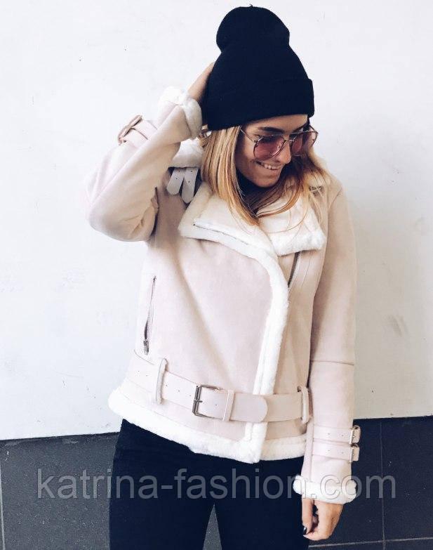 Женская стильная куртка-дубленка на овчине (4 цвета)