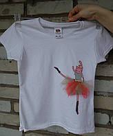 """Дитяча футболка для дівчинки ручного розпису """"Киця-балерина"""""""