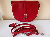 Красная кожаная женская сумка-мессенджер GRET. Очень вместительная!
