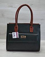 Женская каркасная сумка WL 31003 с накладным карманом зеленая змея