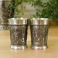 Два коллекционных оловянных бокала, олово, Германия 150 мл