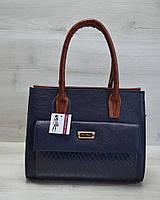Женская каркасная сумка WL 31002 с накладным карманом синяя кобра