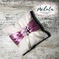 Подушка для колец, подушечка лиловая