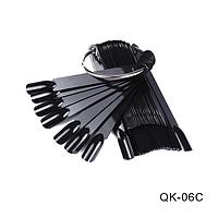 Типсы-веер (палитра) черные пластиковые на кольце QK-06С, 50шт
