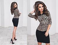 Костюм женский юбка-карандаш+блузка, цвет - леопардовый s