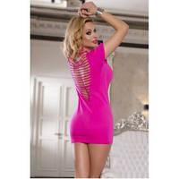 Сексуальное розовое платье с сеткой на спине O/S