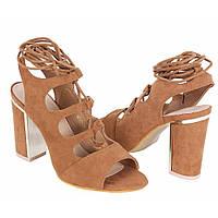Коричневые женские босоножки на каблуке столбике Barbro от Vices