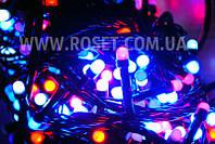 Гирлянда новогодняя нить (черный провод) мультицветовая 500 LED светодиодов 18 м