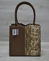 Женская каркасная сумка WL 31701 Треугольник кофейного цвета с кофейной змеёй