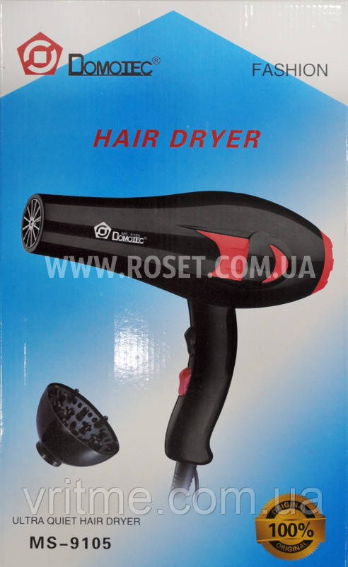 Фен домашний - Domotec Hair Dryer MS-9105 (+насадка-диффузор)