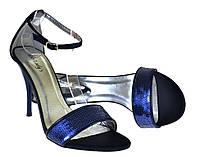 Насыщенно синие туфли на шпильке с пайетками Тango