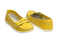 Желтые (горчичные) женские кожаные мокасины WISHOT (натуральная кожа)