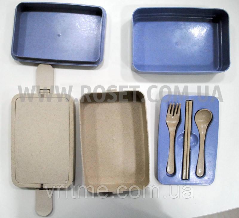 Ланч-бокс из биопластика с приборами - Microwave Lunch Box 1915 ml 3 секции