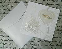 Листівка весільна - запрошення 26166 15*15 см Открытка свадебная - приглашение