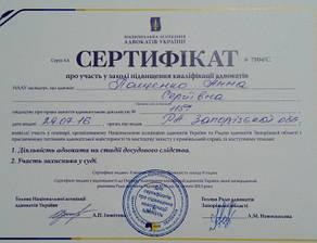 Сертификат адвоката Пащенко А.С. Повышение квалификации. Июль 2016 года Запорожье.