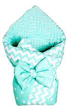 Конверт-одеяло на плюше Babyroom бирюзовый-графит(звездочки)