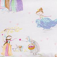 Детская простынь на резинке в кроватку BabySoon хлопок Принцессы из сказок 120 х 60 см (232)