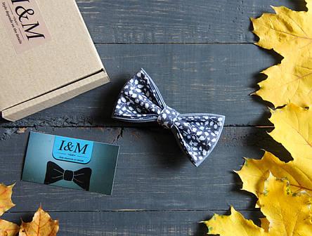 Галстук-бабочка I&M Craft серая с белыми листочками (010254), фото 2