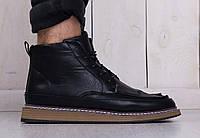 Мужские кожаные туфли броги на зиму черные