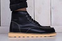 Мужские кожаные ботинки на зиму черные red wing (реплика), фото 1
