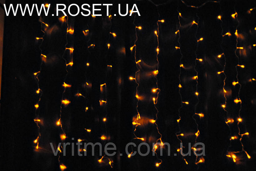 "LED-Гирлянда ""штора"" на 144 лампочек, золотистого цвета (2×1,1 м)"