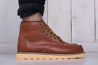 Зимние высокие туфли мужские кожаные коричневые red wing (реплика)