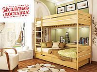 Кровать двухъярусная буковая Дуэт