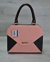 Женская сумка WL 31809 Конверт коричневая с пудрово-коричневой вставкой
