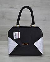 Женская сумка WL 31808 Конверт черная с белой рептилией