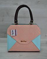 Женская сумка WL 31807 Конверт коричневая с пудрово-голубой вставкой
