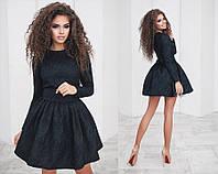 Женское платье с поясом и фатиновой подкладкой, материал - жаккард, цвет - черный