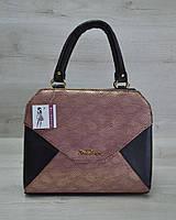 Женская сумка WL 31806 Конверт черная с бордовым золотом
