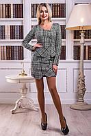 Костюм женский, пиджак и юбка, из буклированной ткани, чёрно-белый,размеры 42-48