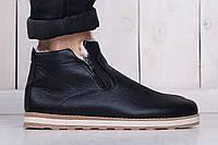 Мужские кожаные ботинки на зиму черные (реплика)