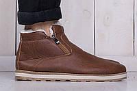 Зимние мужские теплые ботинки коричневые (реплика)