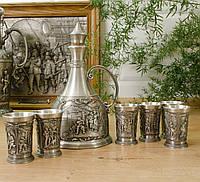 Оловянный сервиз, графин и шесть рюмок, олово, Германия, фото 1