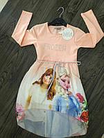 Платье для Девочки с Длинным Рукавом Frozen Персиковое Рост 116-140 см