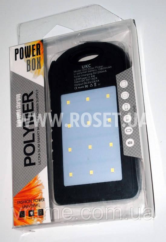 Зарядное устройство с солнечной и светодиодной панелью - Solar Power Bank UKC + LED 10800 mAh (Polymer)