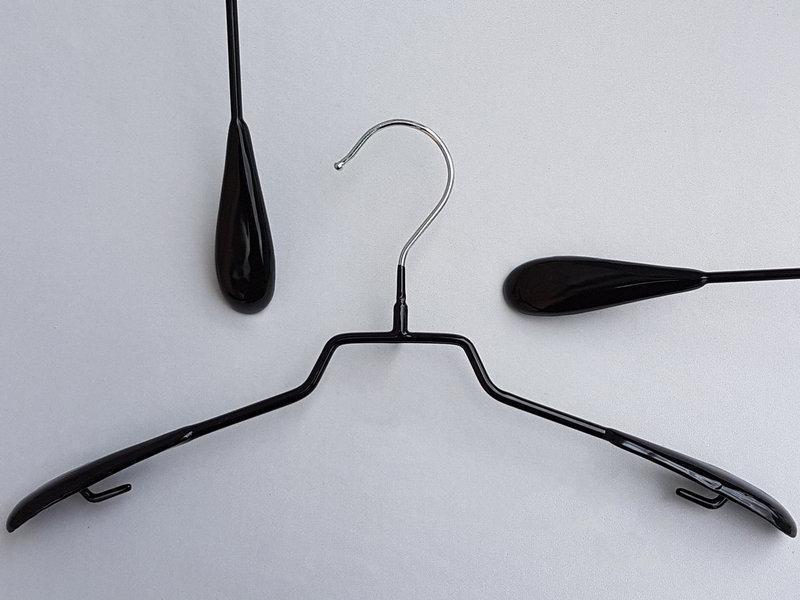 Плечики металлические в силиконовом покрытии широкие черные, 38,5 см