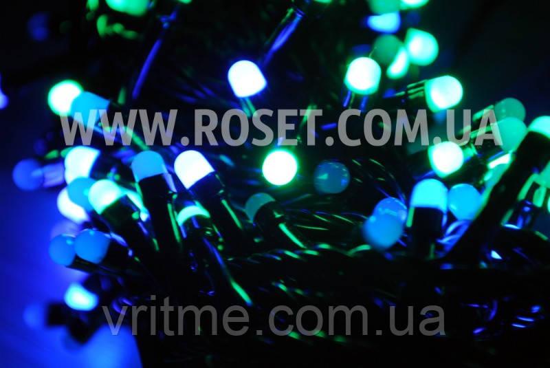 Гирлянда новогодняя нить (черный провод) мультицветовая 400 LED светодиодов 15 м